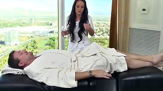 Busty masseuse beauty fucked and facialized by her new boss