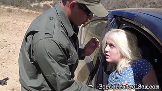 Border cop pulls over a slut in a skirt and fucks her