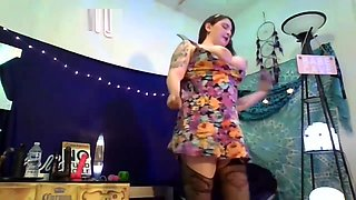Sexy strip tease in garter belt with fishnets; ass spread, shaking & spakin