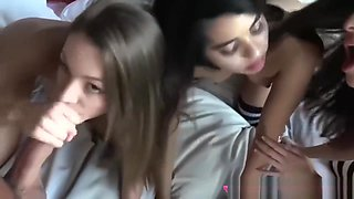 Naughty Teen Cracker & Her Pals Share A Big Cock In Bisexual Foursome