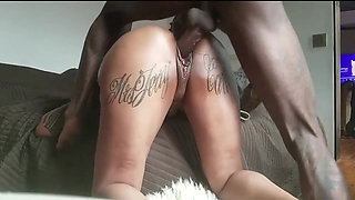 Juicy Ass Orgasm All Over Big Black Cock. Creampie Doggy.