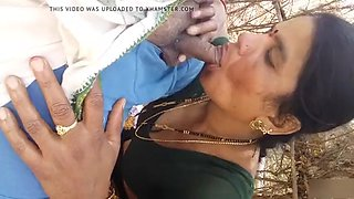 Aunty sucking outdoor &amp getting boobs pressed