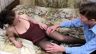 Stacked brunette in pantyhose gets pumped full of hard meat