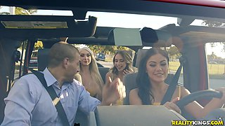 Small tits Khloe Kapri shares her lover with her best friends