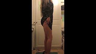 Slim teen cute strip and spread