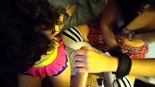 Two cute girls blow a long dick and share a hot load in POV