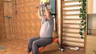 Grandpa fucking a shy but busty babe at the gym class