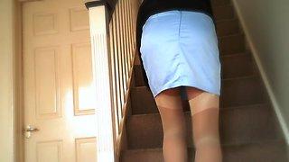Satin blue miniskirt &amp white lace panty