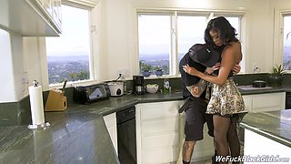 Sweet black babe fucks a plumber and what an incredible body she's got