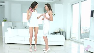 Spoiled seductive lesbian Verona Sky has a toy for petting holes of her gal