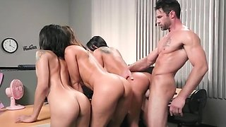 Horny females have cherries licked and fucked in doggystyle pose