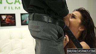 Brutal stud fucks sexy babe with tied up hands Desirae Rose and cums on her face
