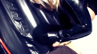 Big beautiful woman does handjob in latex fetish video