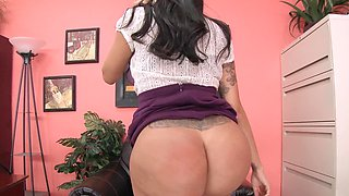 Brunette darling with large boobies gets nailed by a bald stud