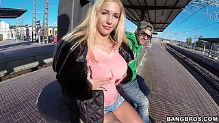 Busty tattooed blonde Kyra Hot gets fucked outdoors in reality clip