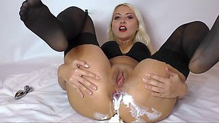 Whipped cream in ass Fucking pussy with huge dildo Helena Moeller
