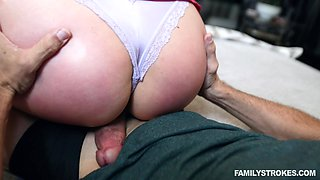 Adira Allure gets her pussy pounded by a friend's cock on the couch