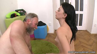 Young and pretty coed Olga gets intimate with kinky old step uncle