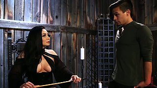Cruel mistress Lea Lexis puts on strapon and fucks anus of submissive dude