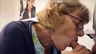 Big tits granny suking young dick
