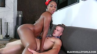 Fantastic black babe with big rack Chanell Heart wanna nothing but ride white dick