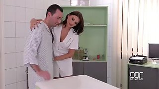 Beauty french nurse fuck her patient and doctor