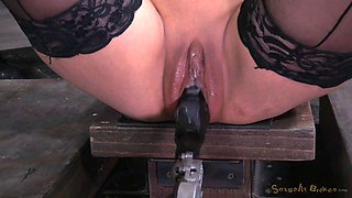 Sexy blonde Rain DeGrey getting cocks and machines while tied up