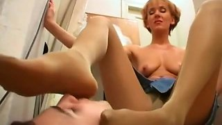 Nylon Foot Smother from Mother-in-Law Mature MILF