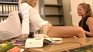 Hot office lesbians thrusting bananas and cucumbers