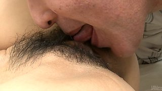 Divine Japanese milf Ruri Hayami gives thorough blowjob to horny daddy