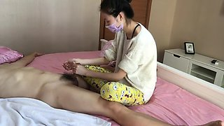 chinese femdom footjob handjob