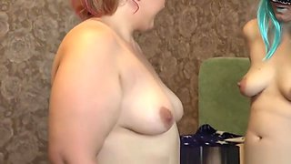 fat lady milf inserts panties into her pregnant girlfriend's big hairy puss