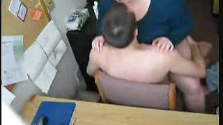 Fat redhead fucking in office