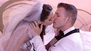 Horny slim bride with small tits Avi Love is into jerking cock of her groom