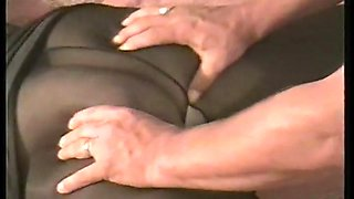 Pantyhose slut wife with boss