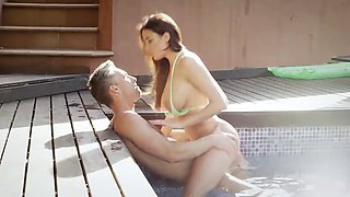 busty wonder babe anissa rides a cock by the pool