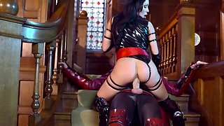Extremely hot brunette babe gets banged in X-Men parody
