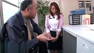 Japanese old boss fucks her secretary
