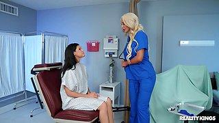 Hard oral fun between this hot female nurse and a slim MILF