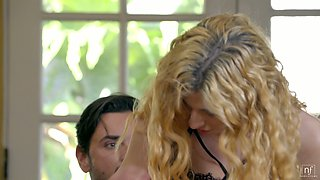 Curly blond housewife Shona River is making love with her boyfriend