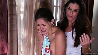 Horny mommy Indian Summer is fucking her naughty step daughter Chloe Foster