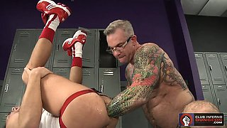 Trent Bloom gets double fisted by tattooed daddy Cory Jay
