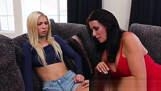 Tiny stepdaughter strapon fucked by MILF