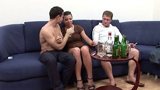 Lucie drunk and forced to fuck with 2 dicks
