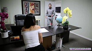 New Asian secretary fucks with her horny boss
