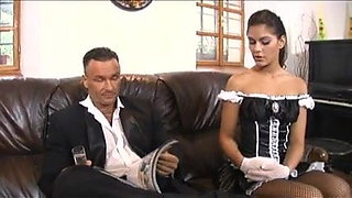 Sexy maid licks girl's pussy in bathroom & sucks cock & gets fucked on sofa