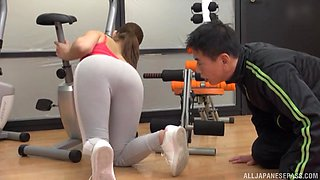 Fit Japanese babe pussy pounded and fingered at the gym