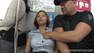 Marvelous Japanese doll stimulated as her hairy pussy gets licked before being throbbed in a public bus