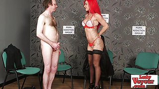 Frisky Loser jerks off while staring at stripped babe