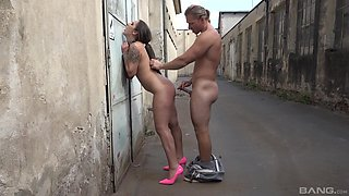 Naked Laura Noiret tied up in the public place and fucked from behind